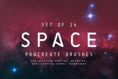 Space Procreate brushes - Set of 24 by MiksKS on ► A set of 24 handmade Procreate brushes for space art. With these brushes, you can paint your own deep space objects - distant nebulae, galaxies, stars clusters and more - on your iPad! Stippling Brush, Luxury Font, Ink Splatter, Site Website, Ink Wash, Lens Flare, Watercolor Brushes, Ink Stamps, Brush Set