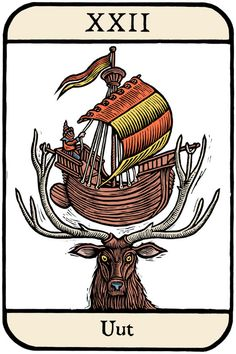 """Ellis Nadler's Cards of Wu series is a """"satire on the Tarot in a set of 78 woodcuts."""""""