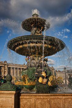 Place de la Concorde fountain, Paris, France