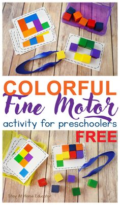 5 Activities for Teaching Colors to Preschoolers with Free Task Cards. These color activities are simple prep as well as engaging for toddlers and preschoolers! Preschool Color Activities, Fine Motor Activities For Kids, Motor Skills Activities, Preschool Lesson Plans, Preschool Learning Activities, Fine Motor Activity, Free Printables Preschool, Preschool Color Theme, Therapy Activities