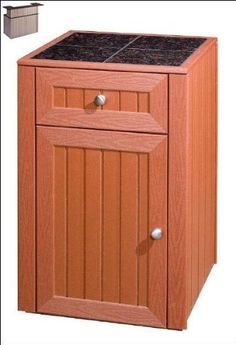 A & B Accesories ODK 902G Drawer - Door Cabinet - Coastal Gray by A & B Accesories. $1350.00. One drawer & one door with storage area for grill tools, small appliances, towels, whatever you need.Ultra Wood cabinets looks like real wood but made with Envirotech 100% recycled product. Weather resistant construction providing you & your family years of use & beauty.Inlaid with your choice of Black & Tan or Gray & Verdigris British Granite tops. Sealed with DuPont Stone Tech heav...