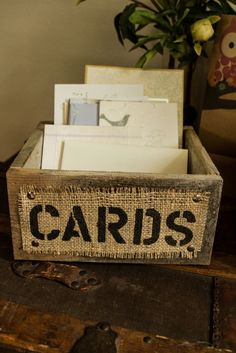 Burlap and Reclaimed Wood CARDS Box for Rustic Country Wedding Hand Painted and stenciled. $37.00, via Etsy. by guida