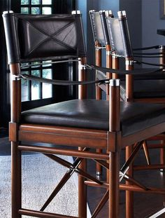 Your guests will to love to sit at the bar and enjoy your bartending skills on the Borneo Campaign Bar and Counter Stools; made from thickly padded leather and rich birch wood.