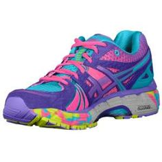 My new babies!!! So cute, light and comfy!! ASICS® Gel - Kayano 18 - Women's - Running - Shoes - Titanium/White/Neon Purple