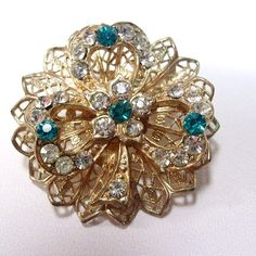 Antique vintage 1940's rhinestone clover shamrock by jewelry715, $12.00