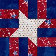 Skies of Stars Red Quilt Blocks Kit  Looks like 8 pairs of red and blue rectangles with 4 of the red ones corner pieced on a white square