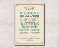 Wedding Rehearsal and Dinner invitation