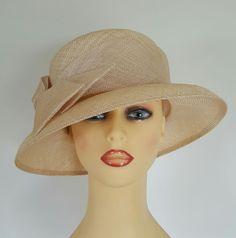 Ladies Wedding Hat Races Mother Bride Ascot Hat Beige by Whiteley England
