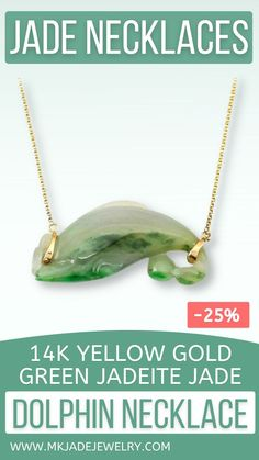 Beautifully carved green jade dolphin on 14K yellow gold 18 inch chain (can also be worn at 16 inch loop). Use discount code INSTA10JORDAN at checkout!