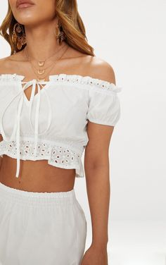 Petite White Broderie Anglaise Detail Bardot Crop Top. Shop The Range Of Petite Today At Prettylittlething. Express Delivery Available. Order Now | PrettyLittleThing USA