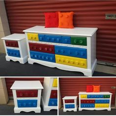 Fun and Original Ideas for Boy's Bedroom Decor – Voyage Afield Lego Bedroom, Boys Bedroom Decor, Boy Bedrooms, Lego Room Decor, Kids Furniture, Painted Furniture, Diy Lego, Ideas Dormitorios, Lego Table
