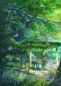 言の葉の庭 / 新海誠, The Garden of Words / Makoto Sinkai, 2013 Japan Manga Anime, Film Anime, Makoto Shinkai Movies, Kimi No Wa Na, She And Her Cat, The Garden Of Words, Fan Art Anime, Animes To Watch, Word Poster