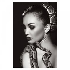 Snake Photos, Largest Snake, Portrait Wall, Female Models, Art Pieces, Black And White, Wall Art, Shoulder, Photography