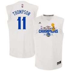 7aac25bf1 Warriors  11 Klay Thompson White 2017 NBA Finals Champions Stitched NBA  Jersey