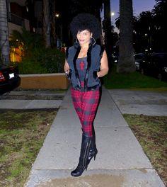 December 18, 2014 Black tank; Black & red tartan leggings; black suede & fur vest; black zippered high boots (Guess)
