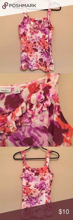 Floral Halogen Silk Top Pink, coral, purple, wine, and cream colored Halogen top with detailing at the bust. Size small. 100% silk. Zipper on left side for tailored fit. Also has snaps on the straps to keep bra straps in place. 👍🏻 Halogen Tops Blouses