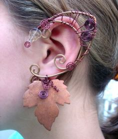 Druid Elf Faerie Ears with Copper Maple Leaves, Elf Ear Cuffs, Fairy, Renaissance, Elven by MerlinsApprentice