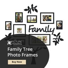 Make family tree picture frame that matches your style and your budget. Family Tree Picture Frames, Family Tree Photo, Picture Frames Online, Personalized Photo Frames, Your Style, Gallery Wall, Budget, Pictures, Crafts