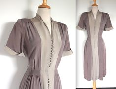 Vintage Dress // Dove Grey and Taupe Two Tone Day Dress // Rockabilly Shirt Dress // Color Block by TrueValueVintage on Etsy Vintage Outfits, 1940s Outfits, 1940s Dresses, Retro Outfits, Day Dresses, Vintage Dresses, Dresses For Work, Colour Blocking Fashion, Color Blocking
