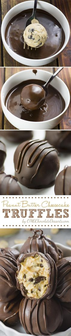 Peanut Butter Cheesecake Truffles - delicious bites of smooth peanut butter cheesecake loaded with chocolate chips, covered with crunchy chocolate shell. Forget the peanut butter but the rest sounds great! Candy Recipes, Sweet Recipes, Cookie Recipes, Dessert Recipes, Peanut Recipes, Frosting Recipes, Recipes Dinner, Pasta Recipes, Crockpot Recipes