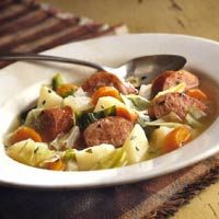 My man loves kielbasa.  This stew will be great during the fall/winter seasons.