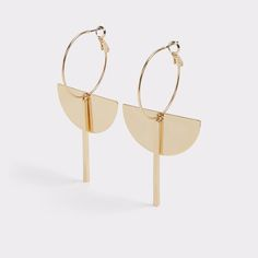 Milanere Clean, simple yet elegantly striking, this artful pair of hoop earrings echoes the sophistication of a piece of modern sculpture. Feature oversized (and thin) hoops,hanging and half-moon charm.