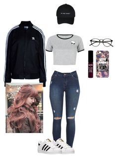 """Vibin"" by nanomisahi on Polyvore featuring adidas, NYX, WithChic and adidas Originals"