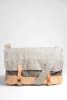 Ecru Striped Canvas Washed Messenger by Paul Smith Accessori