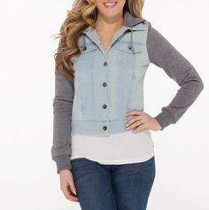 Denim Jacket with Knit Sleeves and Hood