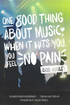 One good thing about music, when it hits you, you feel no pain - Bob Marley - featuring the Daft Brush typeface from Pintassilgoprints - art by @bluecollarpin #fontspiration #fonts #typography #design