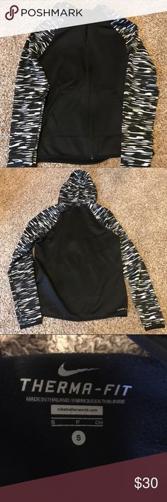 Perfect condition! Therma-Fit Full Zip Hoodie No signs of wear! Full zip, fitted therma fit Nike hoodie. Cute graphic along sleeves and hood. Nike Tops Sweatshirts & Hoodies