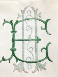 Favorite color combo in monogram form Monogram Design, Monogram Styles, Monogram Fonts, Monogram Letters, Embroidery Monogram, Embroidery Fonts, Machine Embroidery, Embroidery Designs, Linens And Lace