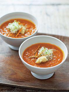 Recipe : かぼちゃ、しょうが、ガラムマサラ、 ピーナッツバターのスープ/ガラムマサラの香りが食欲をそそる
