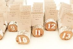 Escort Card Logs - great idea for a rustic wedding  Photography by http://jessevuona.com
