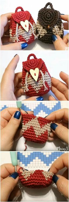 Crochet Purses Ideas Crochet Tapestry Mini Backpack Purse - We've already presented you some easy and helpful tutorials on how to make mini backpack purses. Now, it's time to move on and test our skills in tapestry. Bag Crochet, Crochet Amigurumi, Crochet Handbags, Crochet Purses, Love Crochet, Crochet Gifts, Crochet Dolls, Knitting Patterns, Crochet Patterns
