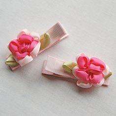 Pink Cabbage Rose Hair Clips - Set of 2 - Hair Accessory - Alligator Clip - Baby Barrette - Toddler Hair Bow on Etsy, $3.99