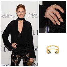 Nothing scandalous about this killer outfit! @darbysofficial wore a Gold and #BlackDiamond #Midi #DaggerRing to the Annual @ELLEusa Women in Hollywood Awards in LA. Impeccably styled by @bartolistyle.  #DarbyStanchfield #Scandal #ElleWomeninHollywood #ElleWIH @scandalabc #rachelkatzjewelry www.rachelkatzjewelry.com