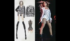 Beyonce-Mrs Carter Show World Tour wearing VersaceJacket. Versace Jacket, Mrs Carter, Silhouette, Fashion Design Sketches, Stage Outfits, Queen B, Gianni Versace, Kimono Top, Dress Up