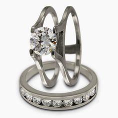Diamond Bridal Ring Set 050 Carat And Insertable Wedding W 070ctw