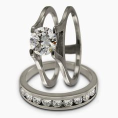 Diamond Engagement Ring Set With Insertable Diamond Wedding Band