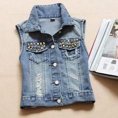 >> Click to Buy << Women Denim Vest Casual Pearl Jacket 2016 Waistcoat Autumn Summer Sleeveless Jean Vest Women Vintage Single 13 #Affiliate