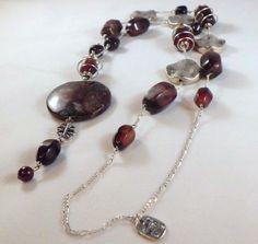 Botwana agategarnet multi gemstone long by EarthMotherJewels, $75.00