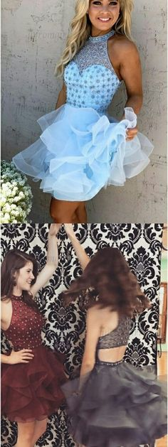 a line jewel short homecoming dresses, blue open back short homecoming dresses, ball gown short prom dresses with beading
