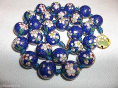 Antique Chinese Cloisonne Enamel Bead Necklace
