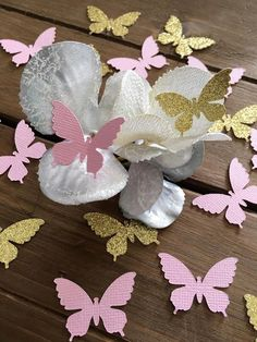 Brighten up and complete your party decor with this beautiful Butterfly Confetti in Light Pink and Gold Glitter. Made from high quality cardstock. Pink is double sided. Gold Glitter is one sided, white/off white on the back.  Perfect for a baby shower, bridal shower, wedding or little girls birthday