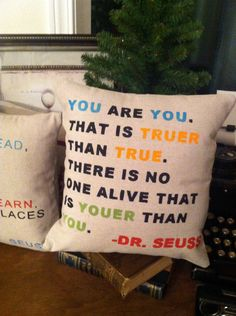 You are You- Dr. Seuss  Quote Pillow-  Home Kids Room Decor. $24.00, via Etsy.