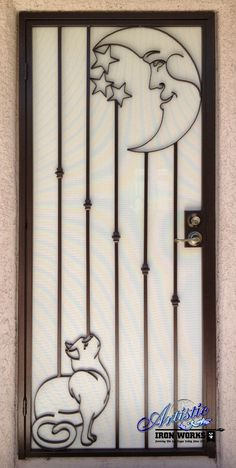 Cat and the Moon Custom Security Door - SD0169