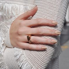 A stripe of rich, festive gold gives a nude mani a decadent upgrade. #paintboxmani