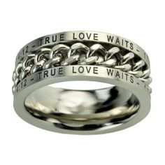 "Christian Mens Stainless Steel 10mm Abstinence ""True Love Waits"" 1 Timothy 4:12 Chain Spinner Chastity Ring for Boys - Guys Purity Ring Spirit & Truth. $23.99"