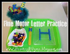 Using beads and tray (the kind you buy in the kids craft area that you iron and they stick together) to make letters.  Good letter practice and also great fine motor practice